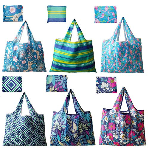 6 Pack Reusable Grocery Shopping Tote Foldable Bags with Pouch Large Capacity Durable Washable Heavy Duty Lightweight EcoFriendly Waterproof Geometry Animal Floral Design also for Travel Gift