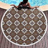 Toalla de playa circular, manta circular de microfibra de chocolate, patrón...