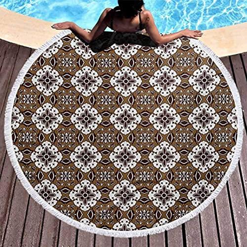 Toalla de playa circular, manta circular de microfibra de chocolate, patrón batik ancestral en tonos marrones con motivos florales indonesios, uso para niños, mujeres, hombres, niños, niñas, marrón os
