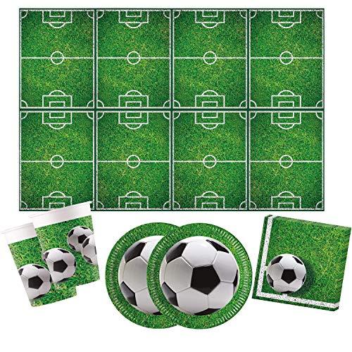 Procos 10110948 - Partyset Fußball S, 53-teilig, 16 Teller, 16 Becher, 20 Servietten, 1 Tischdecke
