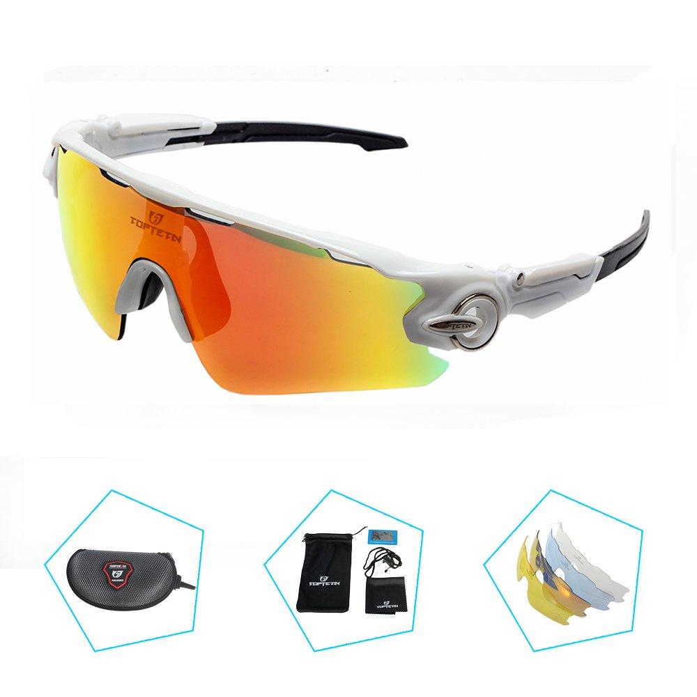TOPTETN Gafas de Sol Deportivas polarizadas Protección UV400 Gafas de Ciclismo con 3 Lentes Intercambiables para Ciclismo, béisbol, Pesca, esquí, Funcionamiento (White) (White): Amazon.es: Deportes y aire libre