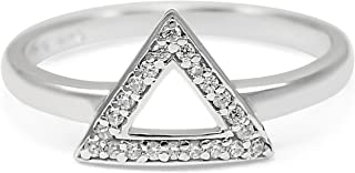 The Collegiate Standard Delta- Geometric Inspired Triangle Sterling Silver Ring with CZs