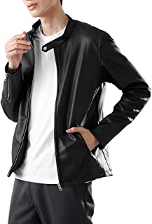 (モノマート) MONO-MART リアルタッチ スムース PU レザー シングル ライダース ジャケット ライダースジャケット 長袖 メンズ