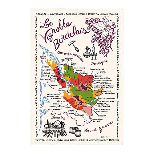 TORCHONS & BOUCHONS-French Le Vignoble carte-Plaque de cuisine en coton