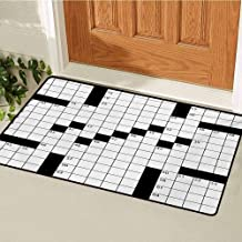 GUUVOR Word Search Puzzle Universal Door mat Blank Newspaper Style Crossword Puzzle with Numbers in Word Grid Door mat Floor Decoration W23.6 x L35.4 Inch Black and White