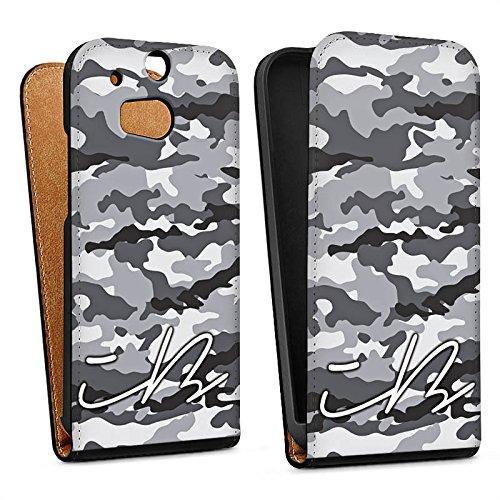 DeinDesign Tasche kompatibel mit HTC One M8 Flip Hülle Hülle Schwarz Camouflage iBlali YouTube