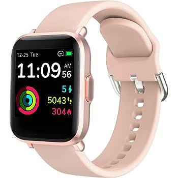KUNGIX Smartwatch, Reloj Inteligente Mujer/Hombre con Monitor Oxígeno Sanguíneo(SpO2) de Pulsómetros, Pulsera de Actividad Inteligente Impermeable IP68 con Pantalla Táctil Completa para Android y iOS: Amazon.es: Electrónica