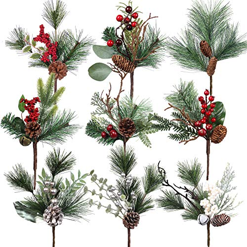 9 Pack Artificial Christmas Picks Assorted Pine Stems Faux Pine Sprays with Berries Pine Cones Jingle Bells Cedar Spruce for Christmas Floral Arrangement Centerpiece