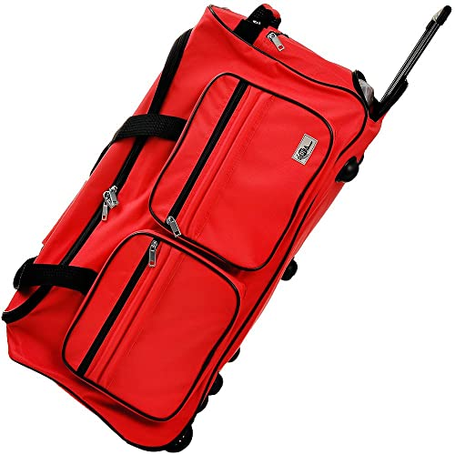 61858d06de52 Travel Duffel Bag Size Colour Choice 85L Red Wheeled Luggage Gym Sport  Large Lightweight Telescopic Handle