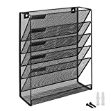 Flexzion Wall Mount Magazine Rack - Metal Mesh Hanging Newspaper Holder Basket File Folder Document Organizer 5 Slot for Office Classroom & Home (Black)