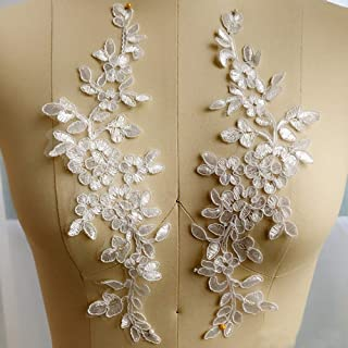 Pbhouse 1 Pair White Large Flower Sew on Embroidered Appliques Patch Lace Fabric Ribbon Trim Neckline Collar