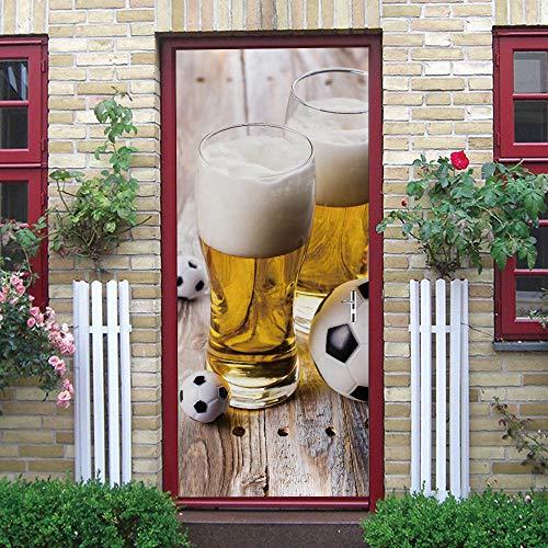 QWEFGDF 3DVinilo Adhesivos para puertas Jarro de cerveza Vinilo adhesivo dormitorio mural decoración del hogar puerta papel pintado extraíble arte puerta calcomanías 82 x 200 cm