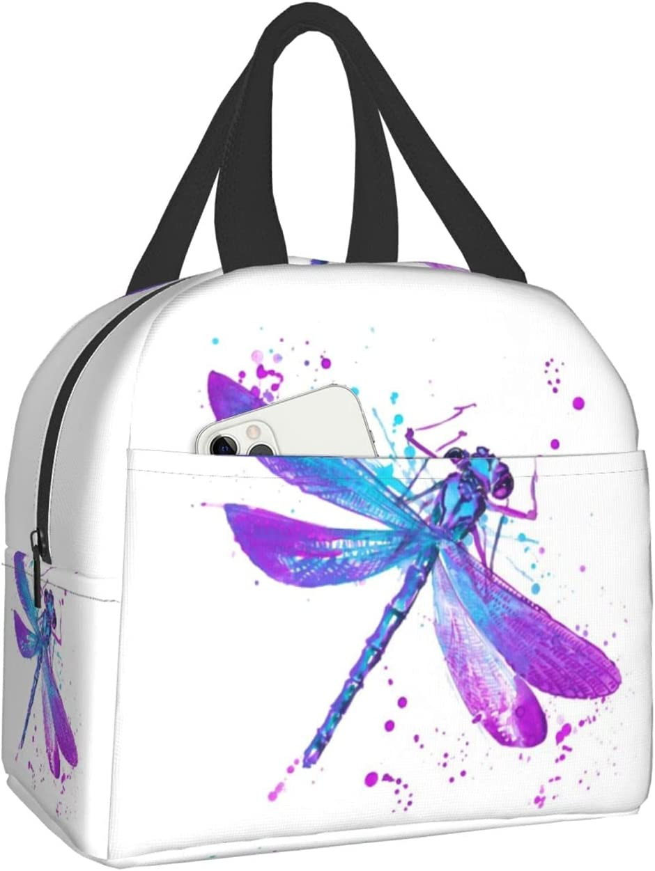 PrelerDIY Watercolor Dragonfly Purple Lunch At the price Insulated Limited price Box - Lunc