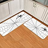FAKAINU Set tappetini da cucina di 2 pezzi, ragnatela elementi gotici da favola raccapricciante spaventoso ragno pericoloso cattura appiccicosa decorativo grigio antracite bianco, lavandino