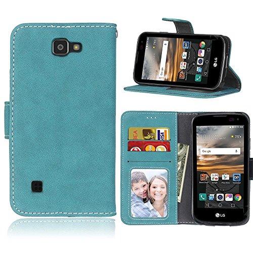 LG K3 / LS450 Hülle, SATURCASE Retro Mattiert PU Leder Flip Magnetverschluss Brieftasche Standfunktion Kartenschlitze Schützend Tasche Hülle Schutzhülle Handycover für LG K3 / LS450 (Blau)