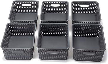 "Eslite Plastic Storage Basket Bins Organizer,10.08""X7.91""X4.09"", 6-Pack-Grey"