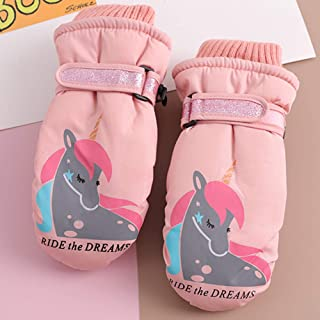 Kids Ski Mittens,Cute Unicorn Winter Snow Waterproof Gloves for Little Girls/Boys(3-5)