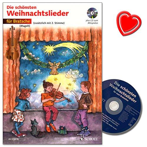Die schönsten Weihnachtslieder für Bratsche mit CD - 20 leicht gesetzte Weihnachtslieder für den Anfangsunterricht oder das Musizieren zur Weihnachtszeit - bunter herzförmiger Notenklammer