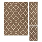 Maples Rugs Rebecca Contemporary Area Rugs Set for Living Room & Bedroom [Made in USA], 3pc, Café Brown/White