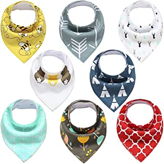 8- Pack Baby Bandana Drool Bibs for Drooling and Teething, 100% Organic Cotton and Fleece Unisex super absorbent Organic Cotton, Cute Baby Gift for Boys & Girls, Toddler Baby Shower gift