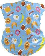 LIUBT Bandana gezichtsmasker stofbescherming buiten Sport hoofd Wrap zon UV Motorfiets Cartoon Ontbijt Voedsel Donuts Bana...