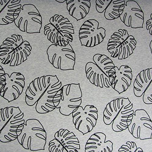 Hamburger Liebe Mono Flock Monstera Grau Hellgrau Meliert Schwarz - Biostoff Biojersey - 160cm Breit - 50cm je Einheit - Baumwolle Elasthan - Retro Vintage Pflanzen Blätter