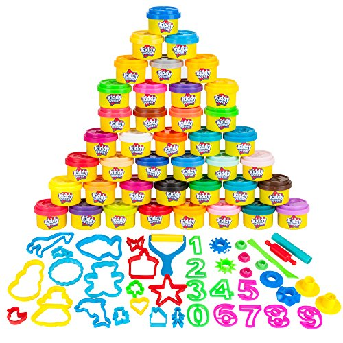 KIDDY DOUGH 40 Pack of Birthday Party Favors Bulk Dough amp Clay Pack  Includes Molded Animal Shaped Lids  40 Shapes amp Numbers Dough Tools  Holiday Edition  1oz Tubs  40oz Total Multi Color