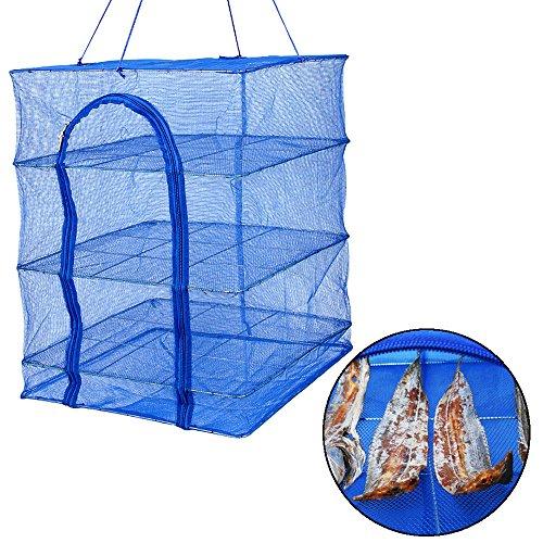 XYXtech Trockennetz Trocknungsnetz klappbar 4 Schichten Mesh Aufhängen Trocknen Netz für Hydrokulturen, perfekt für Pflanze, Gemüse, Kraut, Knospe (50*50*65cm)