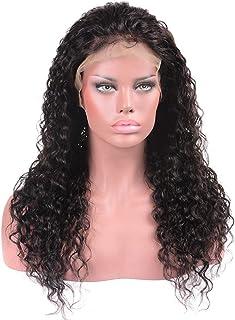 Yrattary ブラジルの髪の水の波ロングカーリーウィッグ100%本物の人間の髪の毛のレースフロントかつら(8インチ - 22インチ)パーティーウィッグ (Color : ブラック, サイズ : 22 inch)