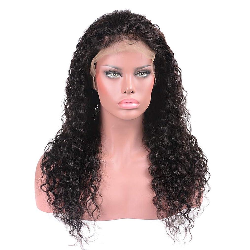 地域ピケ手数料HOHYLLYA ブラジルの髪の水の波ロングカーリーウィッグ100%本物の人間の髪の毛のレースフロントかつら(8インチ - 22インチ)パーティーウィッグ (色 : 黒, サイズ : 22 inch)