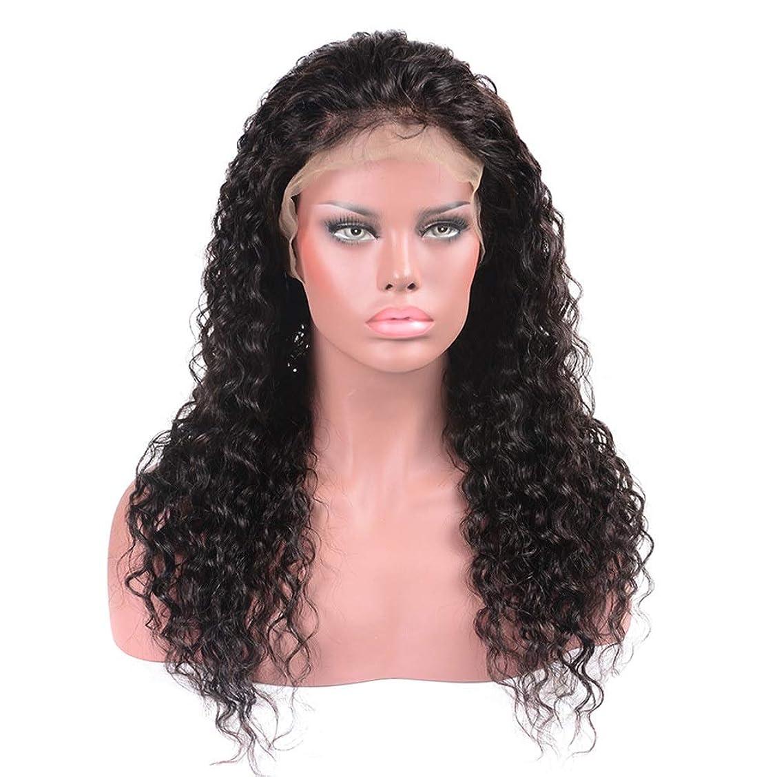 シェーバー同級生熱狂的なHOHYLLYA ブラジルの髪の水の波ロングカーリーウィッグ100%本物の人間の髪の毛のレースフロントかつら(8インチ - 22インチ)パーティーウィッグ (色 : 黒, サイズ : 22 inch)
