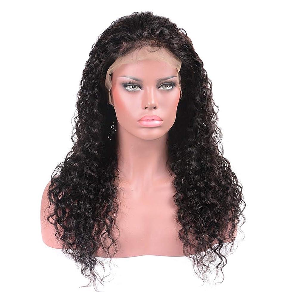 アシスト薄暗い百年BOBIDYEE ブラジルの髪の水の波ロングカーリーウィッグ100%本物の人間の髪の毛のレースフロントかつら(8インチ - 22インチ)パーティーウィッグ (Color : ブラック, サイズ : 8 inch)
