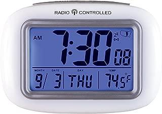 Collections Etc Cordless Atomic Digital Alarm Clock, White
