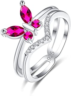 925 Sterling Silver Filled Cubic Zirconia Ruby Spinel Butterfly Engagement Band Ring for Women Girls