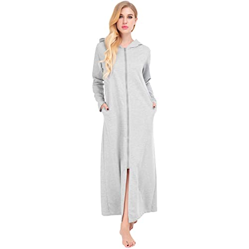 Dromild Zip Front Robe for Women Long Sleeve Cotton Full Length Nightgowns  Hooded Sweatshirt S- d284ce05f