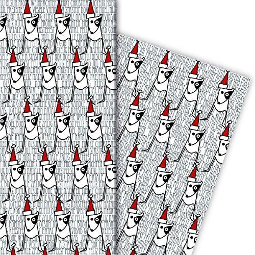 Kerstcadeaupapier set (4 vellen) | Decorpapier met Hündchen en Kerstman muts voor leuke cadeauverpakking en verrassingen voor Sinterklaas, Advent, Kerstmis en nog veel meer. 32 x 48 cm, in wit