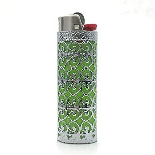 Lucklybestseller Metal Lighter Case Cover Holder Hollow Design for BIC Full Size Lighter J6 (Floral Hollow-Silver)