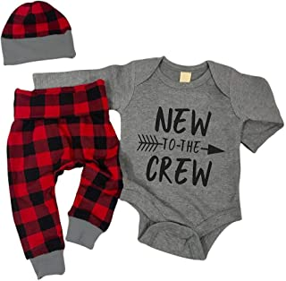 itkidboy Newborn Baby Boy Summer Clothes New to The Crew Letter Print Romper+Long Pants+Hat 3PCS Breathable Outfits Set