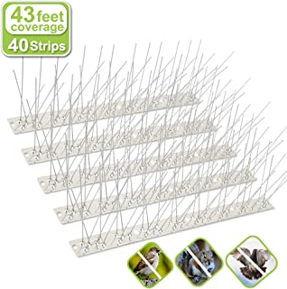 Valibe Bird Spikes for Small Birds Pigeons 43 Feet Coverage Stainless Steel Bird Spikes Kit Metal Bird Deterrent Spikes with Uninstalled Pins