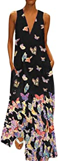 Women Dresses Plus Size Clearance Hosamtel V Neck Sleeveless Butterfly Print Pocket Elegant Casual Summer Long Maxi Dress