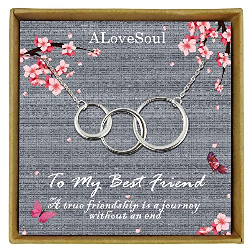 ALoveSoul Best Friend Necklace - 925 Sterling Silver Three Interlocking Infinity Eternity Three Circles Friendship Necklace, 3 Best Friend Necklace, Birthday Gifts Friendship Gifts for Women