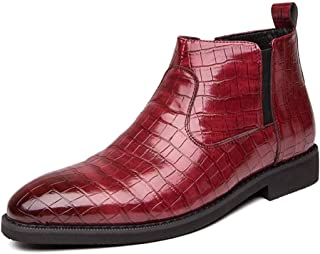 CHENDX Shoes, Upscale Motorcycle Combat Boots for Men Ankle Shoes Pull on with Side Zipper Synthetic Leather Plaid Pattern Easy Care Elastic Band Outdoor Round Toe (Color : Red, Size : 40 EU)