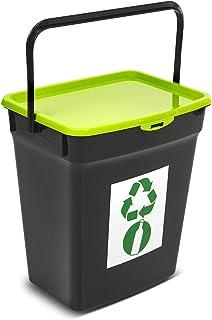 Plast Team Poubelle en verre avec couvercle - 10 l - Système de tri des déchets - Poubelle de recyclage - Poubelle (vert)