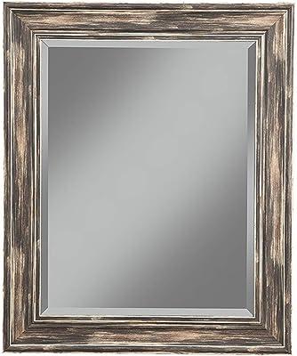 Benjara Polystyrene Framed Wall Mirror with Sharp Edges, Black