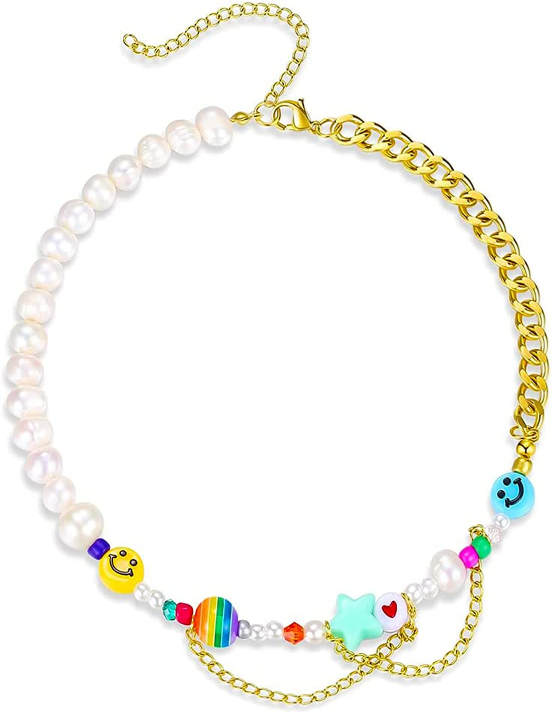 Adilamny Happy Go Lucky Necklace Y2k Smiley Face Yin Yang Colorful Pearl Beads Necklace Handmade Bohemia Charm Choker Necklace for Women Girls