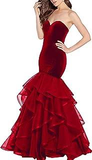 Women's Velvet Mermaid Prom Dresses Long 2019 Sweetheart Ruffle Organza Formal Evening Party Dresses