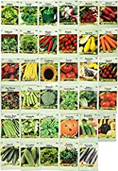 Includes 35 Assorted Different Varieties! 35 Packs of Seeds! - 2020 Year Stock- May Include Varieties - Chicago Pickling Cucumber, White Spine Cucumber, Table Queen Squash, Stowell's Evergreen Sweet Corn, Country Gentleman Sweet Corn, Collards, Butte...