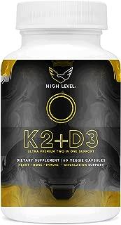 High Level Vitamin K2 (MK7) with D3 Ultra Premium Two in One Support Complex with BioPerine (Black Pepper) | 60 Veggie Capsules | 5000iu D3 Cholecalciferol, 100mcg K2 | Heart, Bone and Immune Health