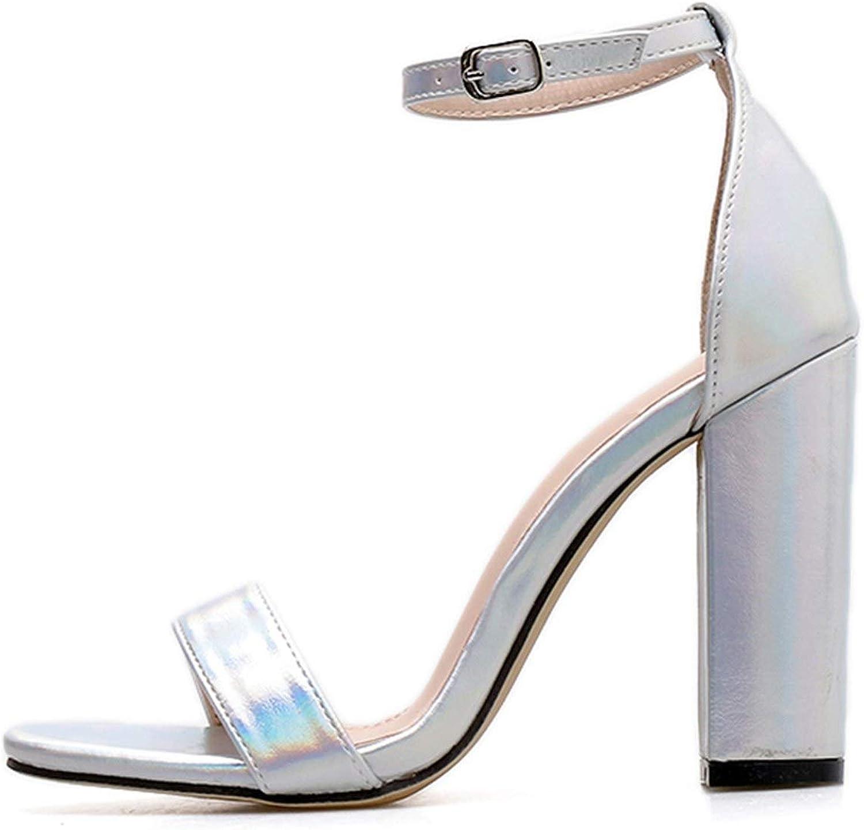 Women Summer Platform 11.5Cm High Heels Glitter Block Heels colorful Strap Sandals Lady Chunky Pumps Female Silver shoes