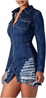 KAIXLIONLY Women's Lapel Button Distressed Ripped Denim Jean Bodycon Nightclub Party Dress Midi Dresses